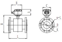 智能電磁流量計產品外形尺寸
